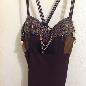 100% silk dress embellished w beads sequins boho